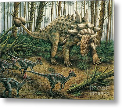 Euoplocephalus With Stygimoloch In Foreground Metal Print by Phil Wilson
