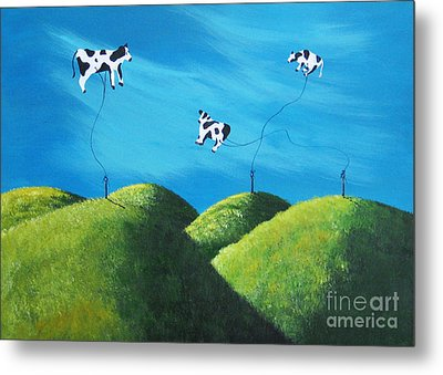 Even Cows Have Strange Dreams By Shawna Erback Art Metal Print by Shawna Erback