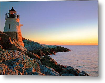 Evening Calm At Castle Hill Lighthouse Metal Print by Roupen  Baker