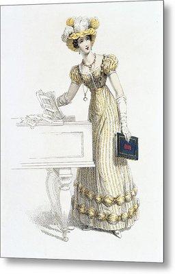 Evening Dress, Fashion Plate Metal Print by English School