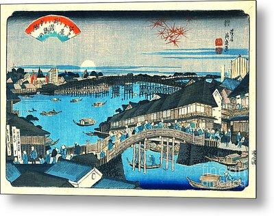 Evening Glow Ryogoku Bridge 1844 Metal Print by Padre Art