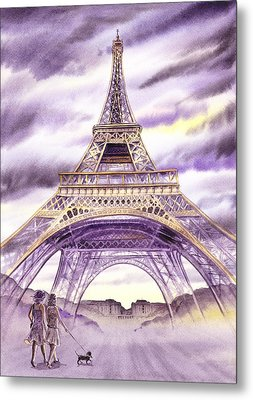 Evening In Paris A Walk To The Eiffel Tower Metal Print by Irina Sztukowski