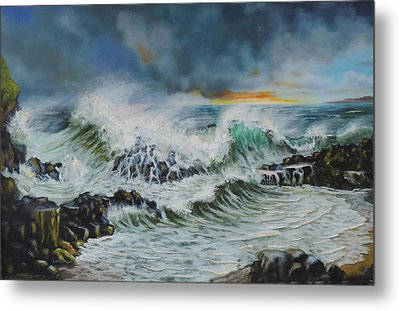Evening Surf At Castlerock Metal Print by Barry Williamson