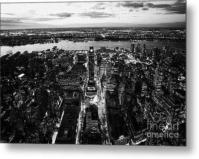 Evening View Of Manhattan West Towards Hudson River And One Penn Plaza Night New York City Metal Print by Joe Fox