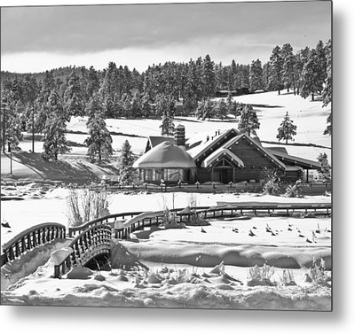 Evergreen Lake House Winter Metal Print by Ron White