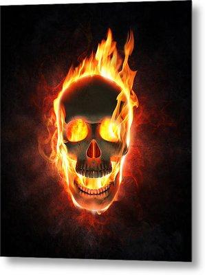 Evil Skull In Flames And Smoke Metal Print by Johan Swanepoel
