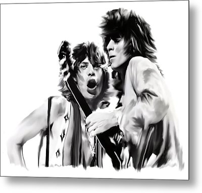 Exile II Mick Jagger And Keith Richards Metal Print by Iconic Images Art Gallery David Pucciarelli