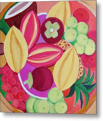 Exotic Fruit Bowl Metal Print by Toni Silber-Delerive