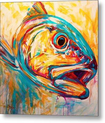Expressionist Redfish Metal Print by Savlen Art
