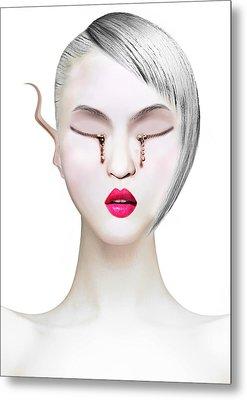 Eye And Zipper Metal Print by Yosi Cupano