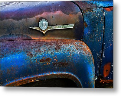 F-100 Ford Metal Print by Debra and Dave Vanderlaan