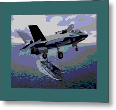 F-35 Strike Fighter On Final Approach To The Us Marine Corps Assault Carrier Enhanced Metal Print by L Brown