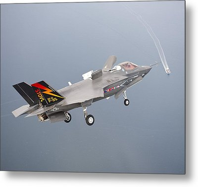 F 35 Final Approach Us Assault Carrier Metal Print by US Military - L Brown