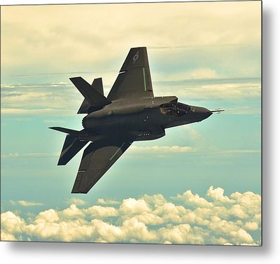F 35 Joint Strike Fighter Lightening II Banking Enhanced Metal Print by US Military - L Brown
