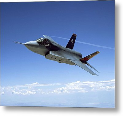 F 35 Joint Strike Fighter Amber Indigo Red Fins Enhanced Metal Print by US Military - L Brown