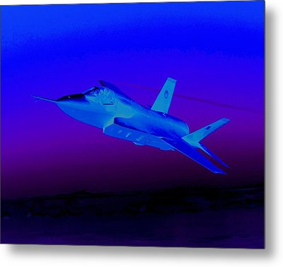 F 35 Joint Strike Fighter At Dusk Night Mission Metal Print by US Military - L Brown