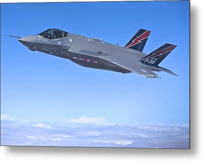 F 35 Joint Strike Fighter Lightening II Red And Indigo Vertical Angled Stabilizers Enhanced Metal Print by US Military - L Brown