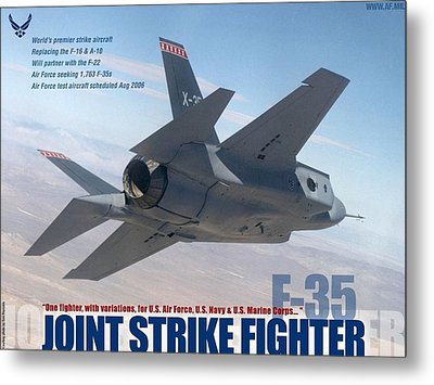 Lockheed Martin F-35 Joint Strike Fighter Lightening II With Text Metal Print by L Brown