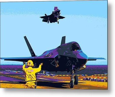 F 35 Joint Strike Fighters Landing Vertically On Us Marine Assault Carrier Enhanced IIi Metal Print by US Military - L Brown