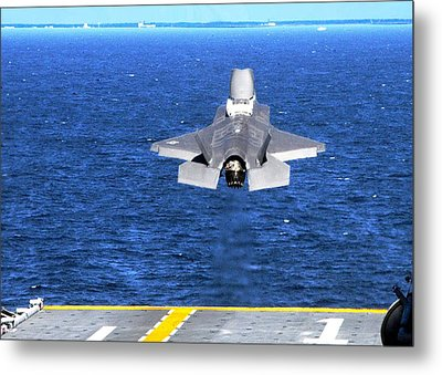 F-35 Slow Vertical Take Off From Amphibious Assault Carrier Us Marine Corps Metal Print by L Brown
