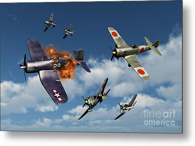 F4u Corsair Aircraft And Japanese Metal Print by Mark Stevenson