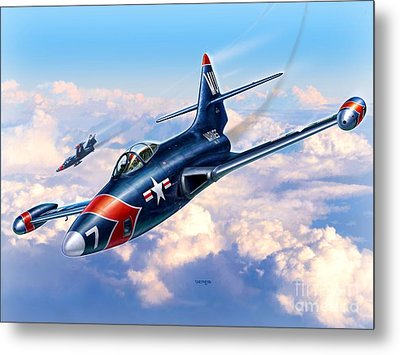 F9f-5p Photo Panthers Metal Print by Stu Shepherd