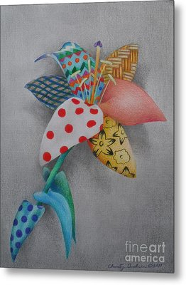 Fabric Lily Metal Print by Charity Goodwin
