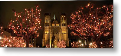 Facade Of A Church, Grace Cathedral Metal Print by Panoramic Images