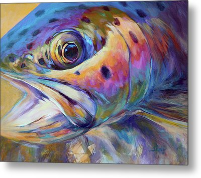 Face Of A Rainbow- Rainbow Trout Portrait Metal Print by Savlen Art