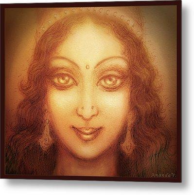 Face Of The Goddess/ Durga Face Metal Print by Ananda Vdovic