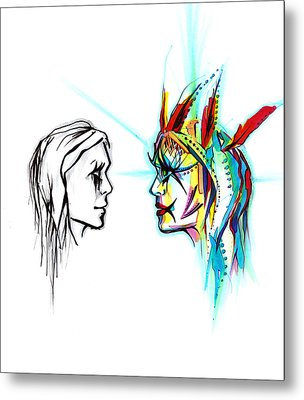Face To Face Metal Print by Andrea Carroll