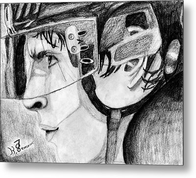 Faceoff Focus Metal Print by Kayleigh Semeniuk