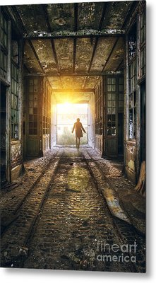 Factory Chase Metal Print by Carlos Caetano