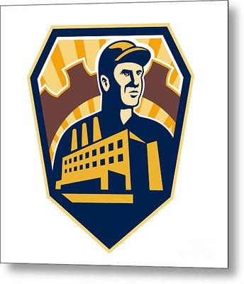 Factory Worker Building Cog Shield Retro Metal Print by Aloysius Patrimonio