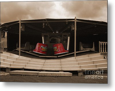 Fairground Waltzer In Sepia Metal Print by Terri Waters