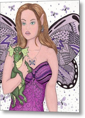 Fairy And Her New Friend -- The Baby Dragon Metal Print by Sherry Goeben
