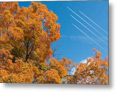 Fall Foliage With Jet Planes Metal Print by Tom Mc Nemar