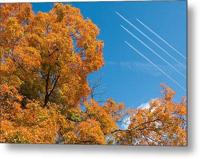 Fall Foliage With Jet Planes Metal Print by Tom Mc Nemar