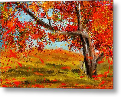 Fall Impressions Metal Print by Lourry Legarde