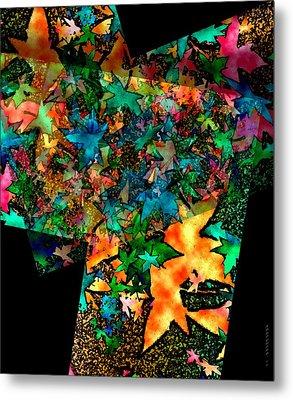 Fall Leaves In Geometric Art Metal Print by Mario Perez