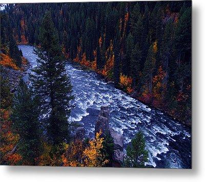 Fall Lined River Metal Print by Raymond Salani III