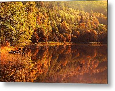 Fall Reflections. Loch Achray. Scotland Metal Print by Jenny Rainbow