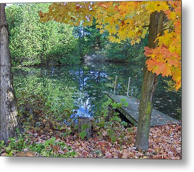 Fall Scene By Pond Metal Print by Brenda Brown