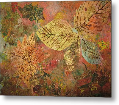 Fallen Leaves II Metal Print by Ellen Levinson