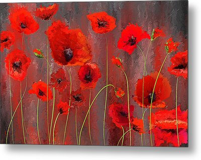 Fallen Memoirs- Red And Gray Art Metal Print by Lourry Legarde