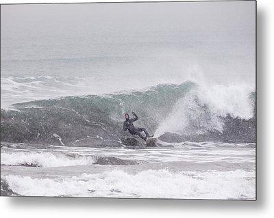 Falling Surfer In Falling Snow Metal Print by Tim Grams