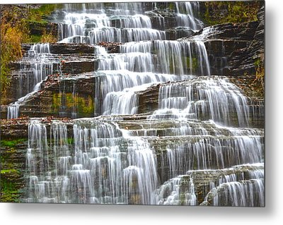 Falling Water Metal Print by Frozen in Time Fine Art Photography