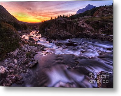 Falls At First Light Metal Print by Mark Kiver