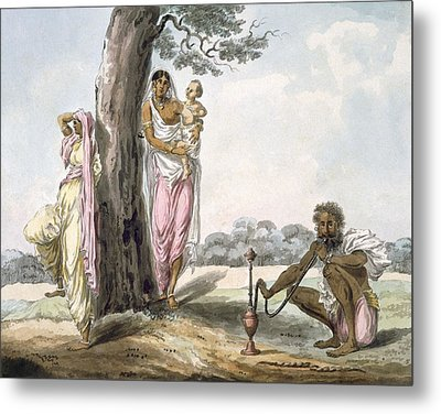 Family Man Smoking A Hookah And Girl Metal Print by Indian School