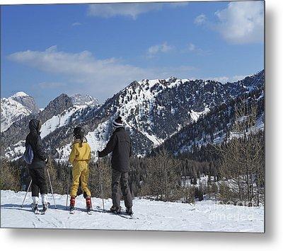 Family On Ski Contemplating Mountains Metal Print by Sami Sarkis
